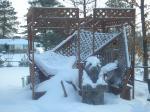 gazebo fallen in with snow